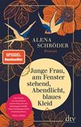 Bild von Schröder, Alena: Junge Frau, am Fenster stehend, Abendlicht, blaues Kleid
